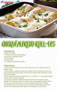 These Chicken Alfredo Lasagna Roll Ups are all of the flavors of classic Chicken Alfredo rolled up into lasagna noodles to make easy lasagna rolls. A simple weeknight dinner recipe that the whole family will love. Easy Chicken Lasagna Recipe, Chicken Lasagna Rolls, Chicken Spinach Lasagna, Lasagna Recipes, Cooking Recipes, Healthy Recipes, Delicious Pasta Recipes, Healthy Pasta Recipes, Pasta Dishes