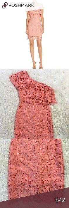Lush Dress Small One Shoulder Coral Crochet Pencil Total length is 38 inches. Bust is 36 inches, unstretched. Lush Dresses