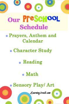 Our homeschool Preschool Schedule