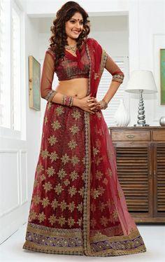 Picture of Premium Maroon Color Indian Net Lehenga Choli