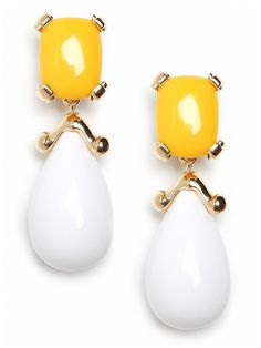 C'mon, get happy with colorblock drop earrings in a sunny palette.  These bold resin teardrops, rendered in bright white and yellow, add a nice graphic touch to any outfit.  BB Spotting: As seen on Gossip Girl