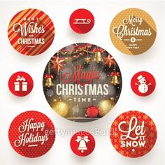 Set of round frames with Christmas greetings and flat icons