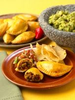 Puerto Rican Empanadas- If you don't want to make the dough I cheat and use pot sticker, or egg roll wrappers instead. A lot of latino markets sell empanada dough as well.