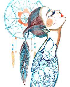 PRINT / Dreamcatcher Art / Wolf/ Feathers by BellaAndBunny on Etsy, $28.00