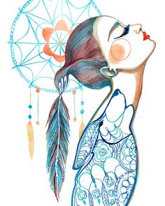 PRINT / Dreamcatcher Art / Wolf/ Feathers by BellaAndBunny on Etsy, $28.00