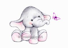 Elephant Nursery Art Print, Animal Nursery Print, Children Art Decor, Kids Wall Art by SweetBabyArt on Etsy