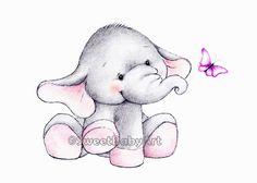 Elephant Nursery Art Print, Animal Nursery Print, Children Art Decor, Kids Wall Art by SweetBabyArt on Etsy