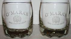 Set of  Etched Rock Cocktail Glasses Omaras Irish Cream Barware Novelty Gift
