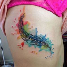 Chronic Ink Tattoo - Toronto Tattoo Feather tattoo in water colour style, done by Martin.