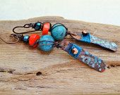 Copper Queen earrings - Bohemian, Dangle, Artisan, Coral, Turquoise