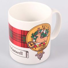Maxwell Clan Crest and Tartan Mug. Free worldwide shipping available