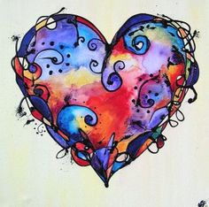 Art Journal inspiration: Over the rainbow - Random watercolors in a heart shape, then doodled over #art #journal