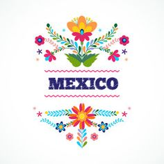 Flower Tattoo Designs, Flower Tattoos, Flower Designs, Mexican Colors, Mexican Flowers, Mexican Pattern, Animal Templates, Mexican Embroidery, Creation Deco