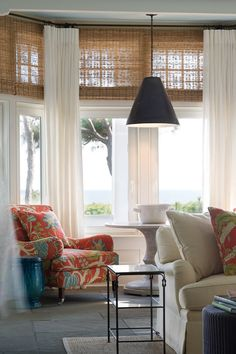 Living room - Highland creek house windows combine curtains with bamboo shades, love!