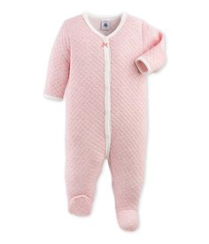Petit Bateau Baby Girls Front Snap Quilted Footie, Pink, 3 Months