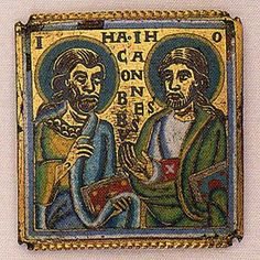 Reliquary, ca. 1160-1170 CE  Square champlevé enamel plaque (Lorraine enamel) depicting the half-length figures of St James and St John identified by Latin inscriptions; four corner pin-holes, now broken; recessed beaded border.  Back: Deep gouged tool-marks down the right edge, near the top and in the centre. Front: Four corner pinholes (now broken) for attachment to a wooden core.  British Museum  Museum number 1913,1220.1