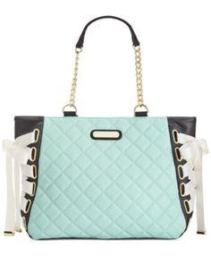 Betsey Johnson Tie Up Tote - Handbags & Accessories - Macy's Unique Handbags, Cute Handbags, Purses And Handbags, Vegan Handbags, Betsy Johnson Purses, Betsey Johnson Handbags, Mint Bag, Cute Purses, Handbag Accessories