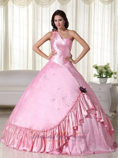 Buy baby pink ball gown one shoulder beading sweet sixteen dresses from featured quinceanera dresses collection, one shoulder ball gowns in pink baby pink color,cheap floor length dress with lace up back and for prom formal evening sweet 16 quinceanera . Sweet Sixteen Dresses, Sweet 16 Dresses, 15 Dresses, Ball Dresses, Pretty Dresses, Beautiful Dresses, Ball Gowns, Fashion Dresses, Sweet 15