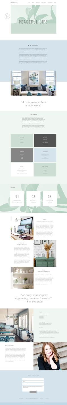 Elegant One Pager for a soft color scheme for home organizing service, Peaceful Life.