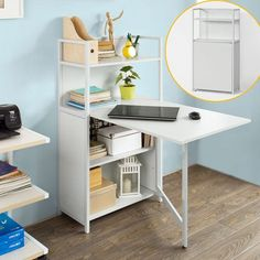 SoBuy Home Office 4 Tiers Bookcase Storage Shelves Folding Writing Reading Laptop Desk Table White Color) Folding Furniture, Folding Desk, Space Saving Furniture, Folding Tables, Table Shelves, Table Storage, Office Desks Uk, Office Spaces, Office Table