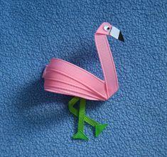 Flamingo Hair Clip Ribbon Sculpture Pink by CelticTideCreations, $5.50