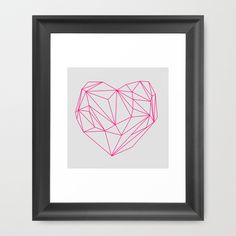 Heart+Graphic+Neon+Version+Framed+Art+Print+by+Mareike+Böhmer+Graphics+-+$37.00