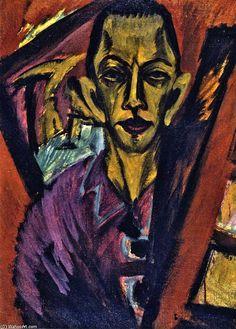 auto-portrait, craie de Ernst Ludwig Kirchner (1880-1938, Germany)