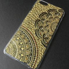 iPhone 6s plus iPhone 6 plus Case clear Henna Mandala Art 3D Hand Painted Gold & Rhinestone Hand Drawn Galaxy S5 Case Sony mehndi by SnowHennaArt on Etsy https://www.etsy.com/listing/262833158/iphone-6s-plus-iphone-6-plus-case-clear