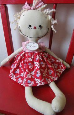 Valentine's Day handmade rag doll