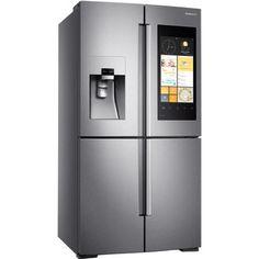 Stainless Steel Refrigerator, Stainless Steel Appliances, French Door Refrigerator, Kitchen Appliances, Kitchens, Samsung Fridge Freezer, Fridge Freezer Uk, Tall Cabinet Storage, Locker Storage