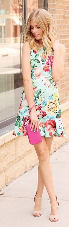 Mint Floral Dress Streetstyle #mint