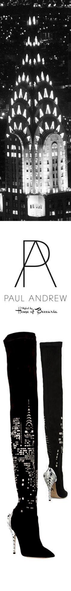 ~Paul Andrew Fall 2015: Chrysler Building Suede & Crystal Beaded Over-The-Knee Metallic Ridged Stiletto Heel Boot   House of Beccaria