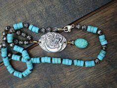 Bohemio estilo collar de turquesa plata esterlina sirena