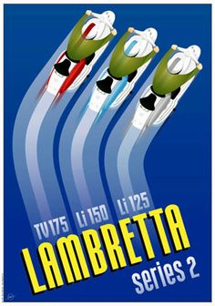 """Lambretta """"Ok, ok, not cars, but these little dudes started a style movement all on their own. Vespa Bike, Lambretta Scooter, Vespa Scooters, Motorcycle Posters, Motorcycle Art, Vintage Italian Posters, Poster Vintage, Italian Scooter, Mod Scooter"""