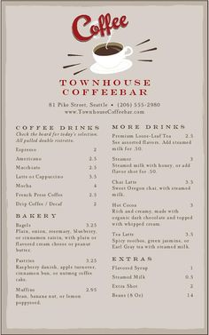 Vintage Coffee Menu