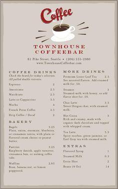 Vintage Coffee Menu