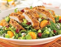 TGI Friday's Pecan-Crusted Chicken Salad. Love this with a raspberry vinaigrette Dressing.