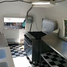 Her new stove is going to be a game changer. And you can't even tell I had to cut out a big hole in the back. She's almost ready! #TheTinCan #1968 #Airstream #FoodTrailer #FoodTruck #SanAntonioFood by mannyo