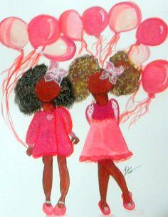 Childrens art print Girls art print African American by LeMahogany, $15.00