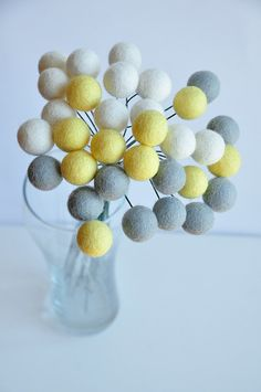 Gray yellow wool flowers set of 30 wool pompoms by mellsva on Etsy, $20.00