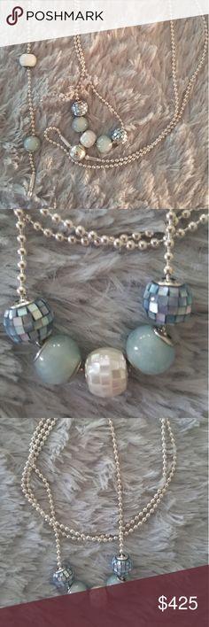 "Pandora Essence SET PANDORA Essence Collection Set. NECKLACE comes with 5 beads. 2 Loyality, 2 Blue Mosiac Balance, 1 White Mosiac Generosity and is 31.5 inches. BRACELET comes with 3 beads. 2 beads are Loyality, snd 1 white bead is Hope. Bracelet is 7.5"" Pandora Jewelry"