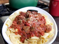 Rigatoni and Meatballs Recipe : Ree Drummond : Food Network - Pioneer Woman Meatball Recipes, Beef Recipes, Cooking Recipes, Yummy Recipes, Meatball Dish, Top Recipes, What's Cooking, Italian Dishes, Pizza