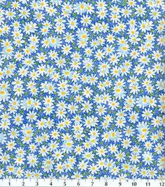 Recuerdo de calicó ™ tela de algodón-pic margarita azul