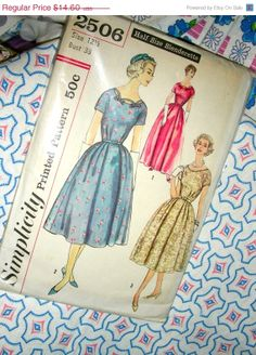 Sale UNCUT Vintage 50's Simplicity Sewing Pattern 2506 by anne8865, $11.68