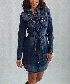 Take a look at this RU Cowgirl Blue Katie West Denim Shirt Dress - Women on zulily today!