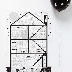 maison hantée géante (10 pages A4) à colorier