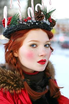 Yule headdress...old Celtic tradition.  Beautiful complexion