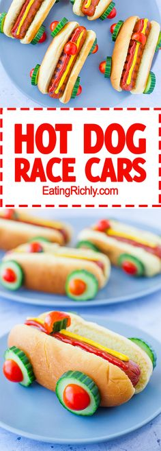 These race car hot dogs are SO cute and super easy to make. Perfect for a Cars party, a cute kid's lunch, or a backyard family barbecue. From EatingRichly.com via @eatingrichly