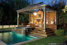 Outdoor heating: Wood burning fireplace