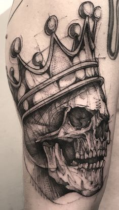 Skull with Crown 👑💀 Done at Body Art Tattoos, New Tattoos, Hand Tattoos, Tattoos For Guys, Sleeve Tattoos, Owl Tattoo Drawings, Tattoo Sketches, Skull With Crown, Throat Tattoo